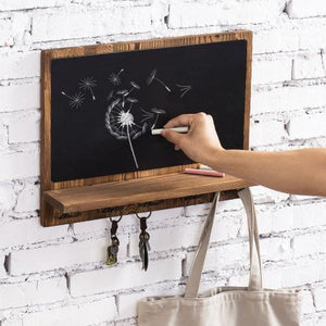 Wall Mounted Chalkboard w/ Shelf and Hooks - MyGift