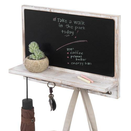 Wall Mounted Chalkboard w/ Shelf and Hooks, Whitewashed - MyGift