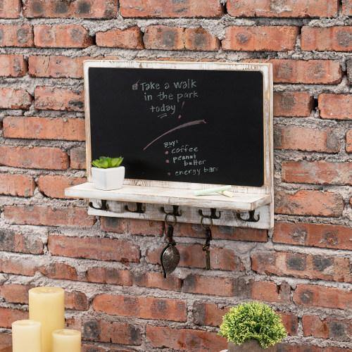 Wall Mounted Chalkboard w/ Shelf and Hooks, Whitewashed