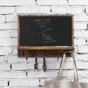 Wall Mounted Chalkboard w/ Shelf and Hooks