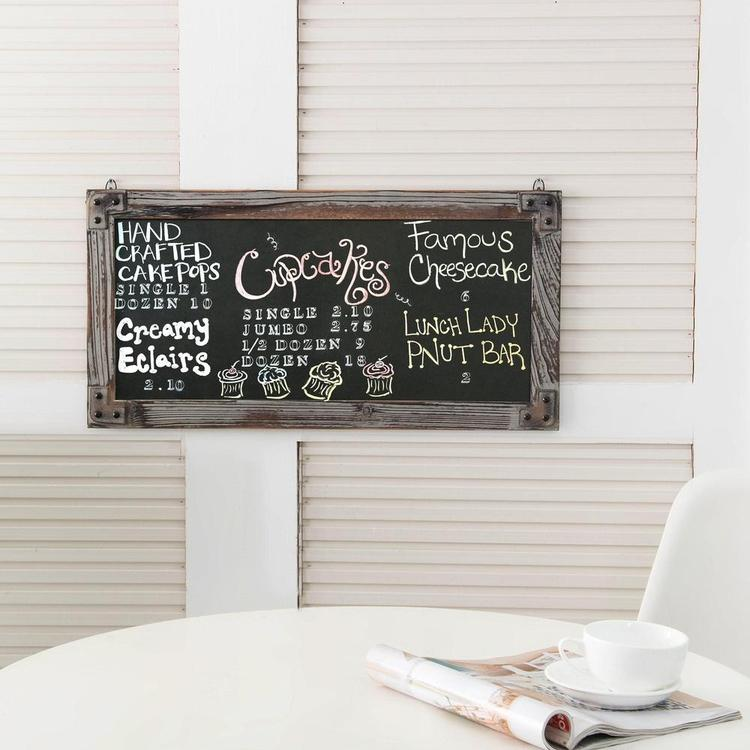 Wall Mounted Torched Wood Vertical Frame Erasable Chalkboard Sign - MyGift Enterprise LLC