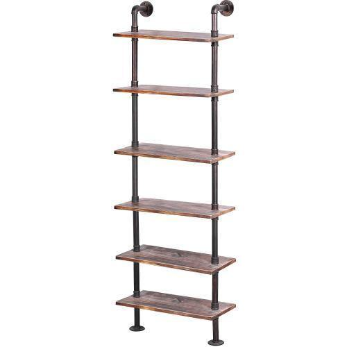 Wall Mounted Industrial Metal Pipe & Rustic Wood Display Shelf - MyGift