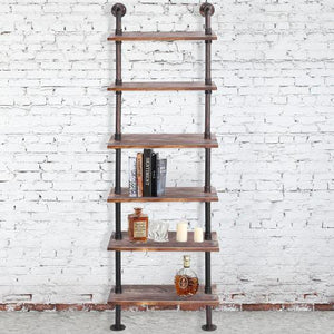 Wall Mounted Industrial Metal Pipe & Rustic Wood Display Shelf