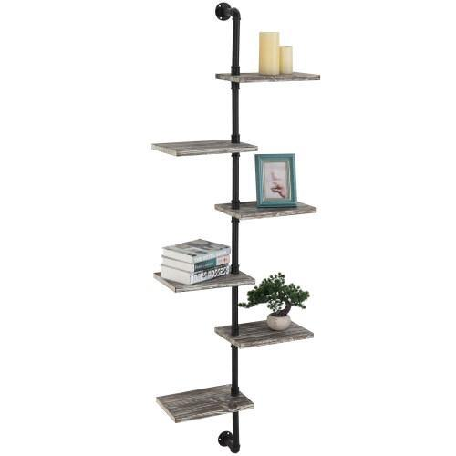 Wall Mounted Industrial Style Metal & Torched Wood Display Shelf