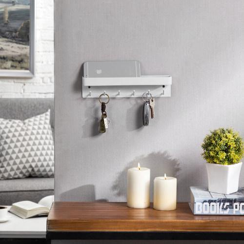 Wall Mounted Metal Key Holder with Shelf, White - MyGift
