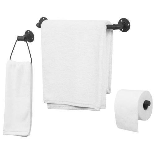 Wall Mounted Metal Pipe Bathroom Accessory Set - MyGift