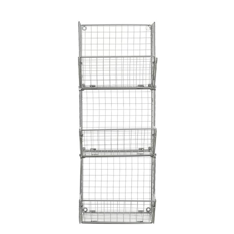 3-Tier Gray Metal Wire Wall Mounted Kitchen Produce Storage Baskets - MyGift Enterprise LLC