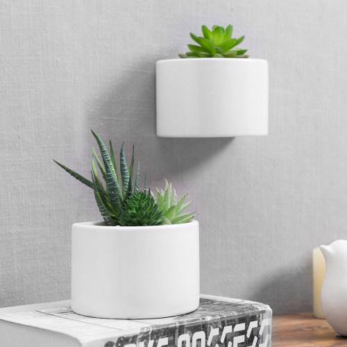 Wall Mounted Miniature White Glazed Ceramic Planters, Set of 2