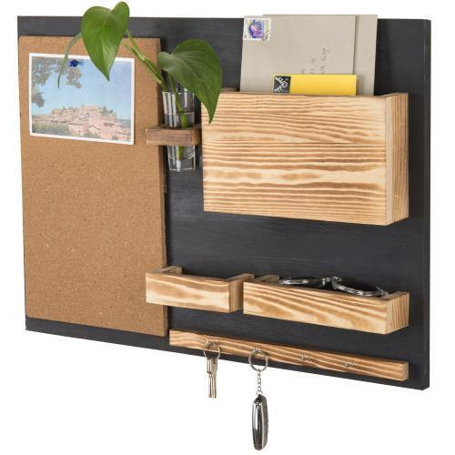 Wall-Mounted Organizer with Cork Bulletin Board, Mail Holder, Key Hooks, Flower Vase