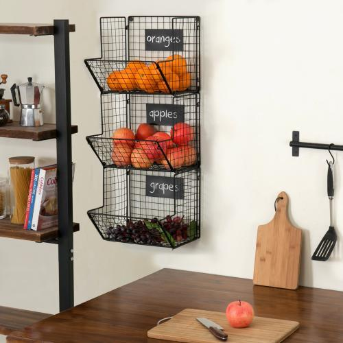 Wall Mounted Produce Baskets with Chalkboard Labels