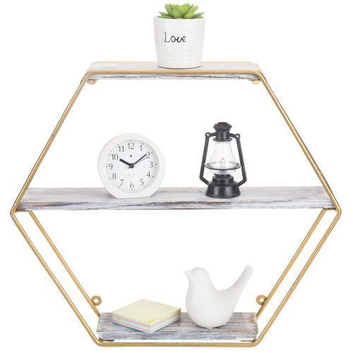 Wall Mounted Shelf with Hexagon Gold Metal Frame & Whitewashed Wood Shelves