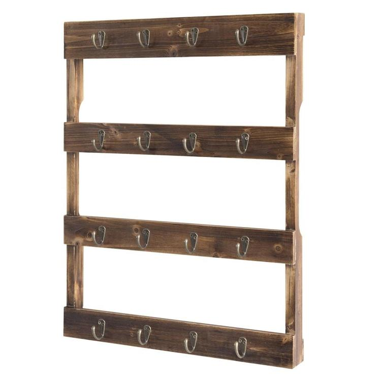 Wall Mounted 12 Hook Torched Wood Coffee Mug Cup Holder Display Rack - MyGift Enterprise LLC