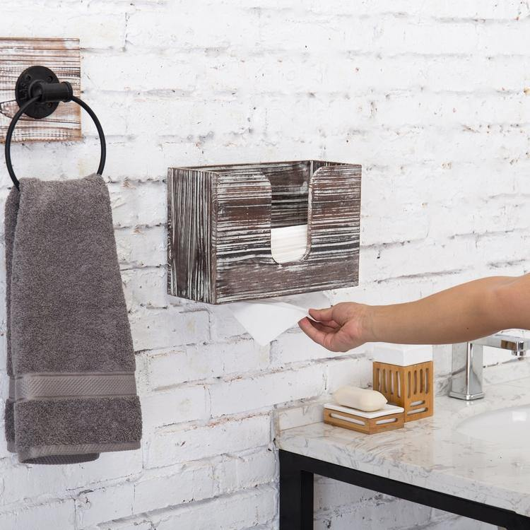 Wall-Mounted Torched Wood Paper Towel Dispenser - MyGift