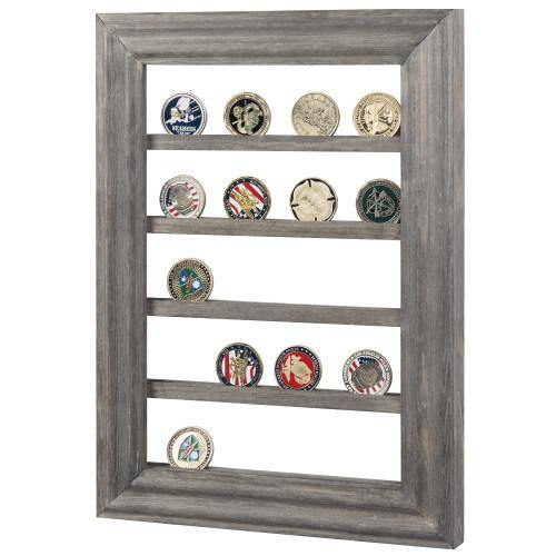 Wall Mounted Vintage Gray Wood Challenge Coin Display Rack