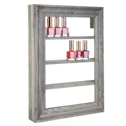 Wall-Mounted Vintage Gray Wood Nail Polish & Essential Oil Rack