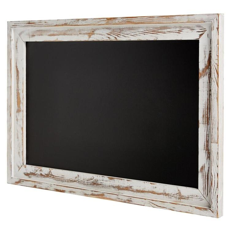 Shabby Chic Wall Mounted White Washed Wood Framed Chalkboard, White - MyGift Enterprise LLC