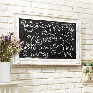 Wall Mounted White Washed Wood Chalkboard, White