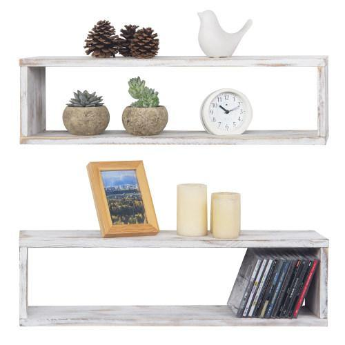 Wall Mounted Whitewashed Cubby Shelves, Set of 2