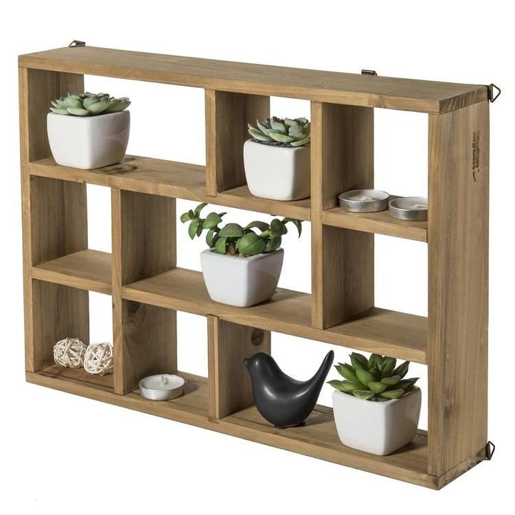 9-Slot Wall-Mounted (Vertical or Horizontal) Rustic Wood Shadow Box Shelves, Brown - MyGift Enterprise LLC