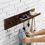 Walnut-Colored Bamboo Entryway Shelf with Hooks - MyGift