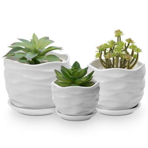 Wave Textured White Ceramic Planters with Saucers, Set of 3 - MyGift