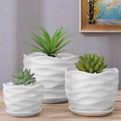 Wave Textured White Ceramic Planters with Saucers, Set of 3