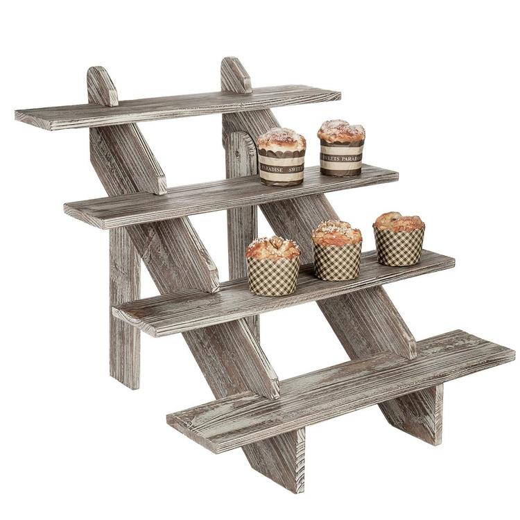4-Tier Rustic Weathered Wood Retail Display Riser, Brown - MyGift Enterprise LLC