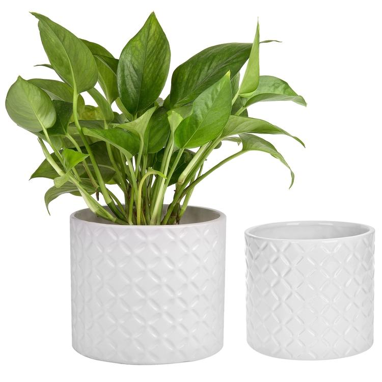 White Ceramic Diamond Pattern Planter Pots, Set of 2