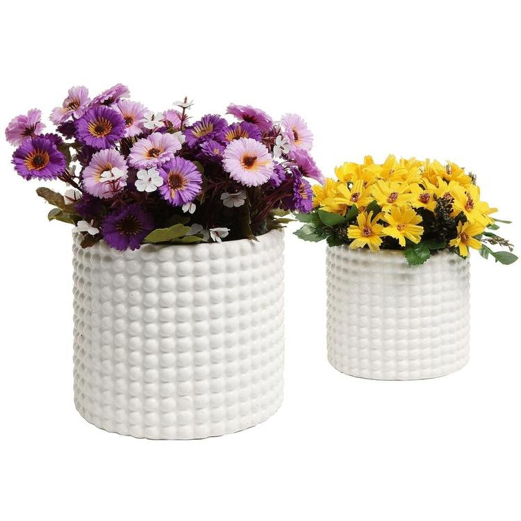White Ceramic Hobnail Textured Flower Planter Pots, Set of 2 - MyGift Enterprise LLC