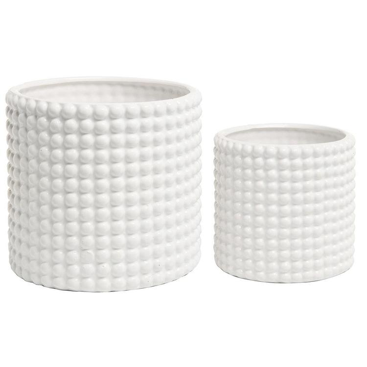 White Ceramic Hobnail Textured Planter Pots, Set of 2