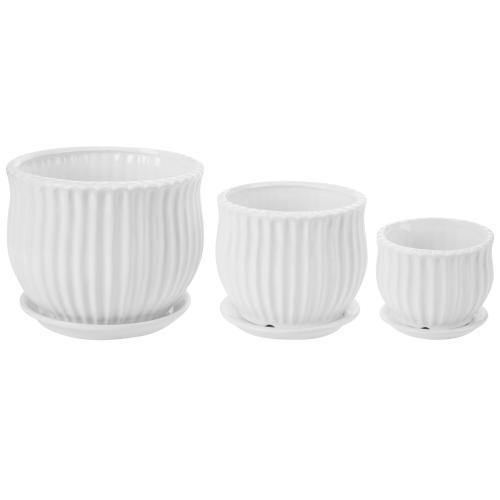 White Ceramic Pots with Saucers, Set of 3
