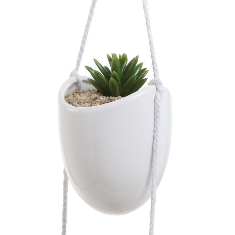 White Ceramic Rope Hanging Planter Set with 4 Containers - MyGift