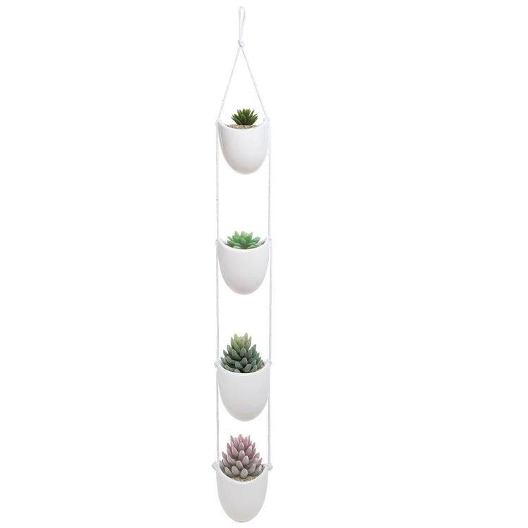 White Ceramic Rope Hanging Planter Set with 4 Containers