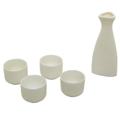 White Ceramic Sake Serving Carafe and 4 Cups - Traditional Japanese Style 5 Piece Gift Set - MyGift Enterprise LLC