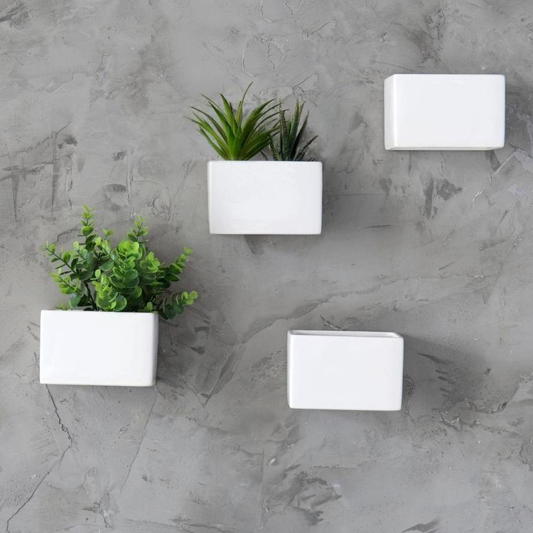 Modern White Ceramic Wall Hanging Succulent & Herb Planter Box, Set of 4 - MyGift Enterprise LLC