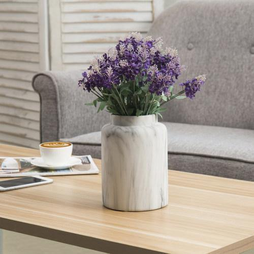 White Marble Pattern Ceramic Flower Vase with Matte Finish - MyGift