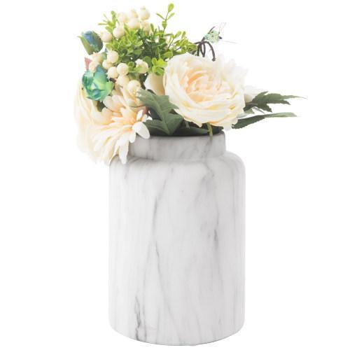 White Marble Pattern Ceramic Flower Vase with Matte Finish