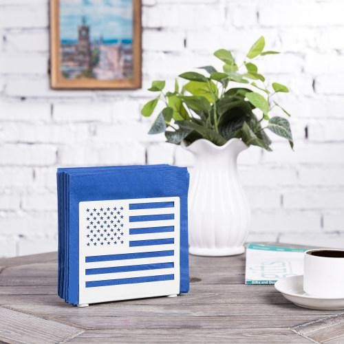 White Metal American Flag Cut-out Design Napkin Holder