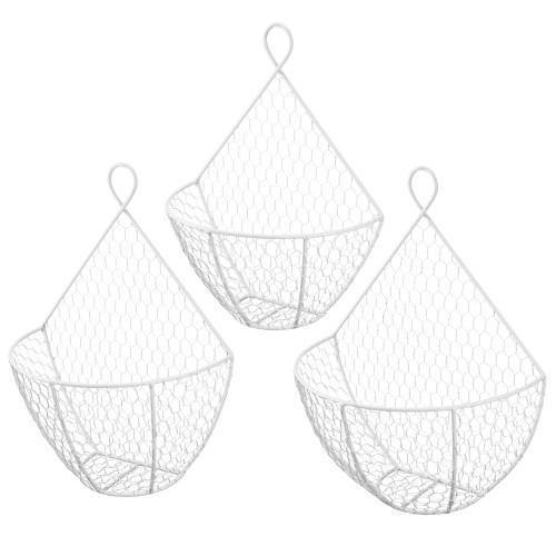 White Metal Chicken Wire Wall Hanging Baskets, Set of 3
