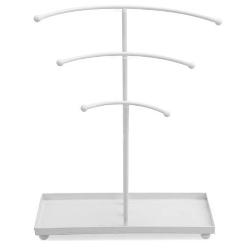 White Metal Curved T-Bar Jewelry Stand with Ring Tray