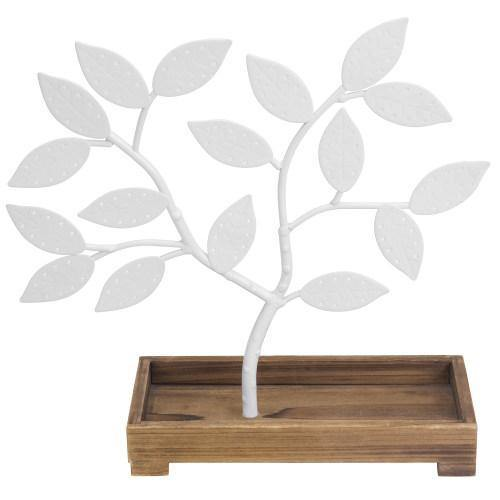 White Metal Jewelry Tree with Wooden Trinket Tray