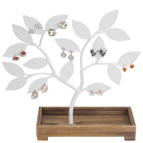 White Metal Jewelry Tree with Wooden Trinket Tray - MyGift