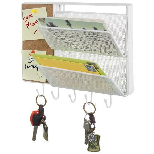 White Metal Mesh Mail Sorter Rack with Cork Board & Key Hooks - MyGift
