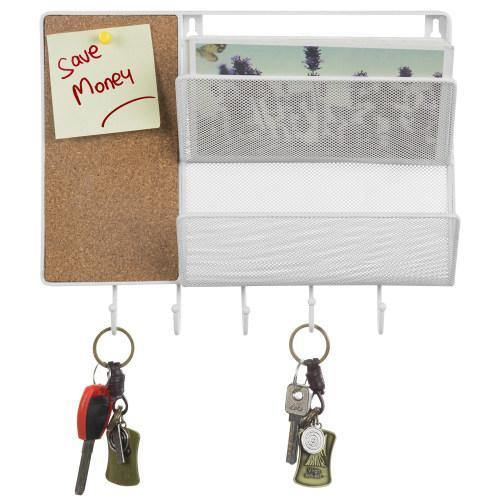 White Metal Mesh Mail Sorter Rack with Cork Board & Key Hooks