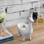White Resin Deer Design Jewelry Stand with Dish