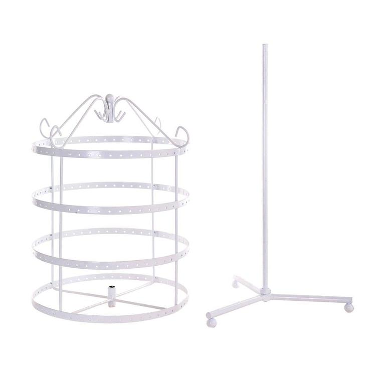 4 Tier White Rotating Spin Tabletop 92 pairs Earring Holder Organizer Stand - MyGift Enterprise LLC