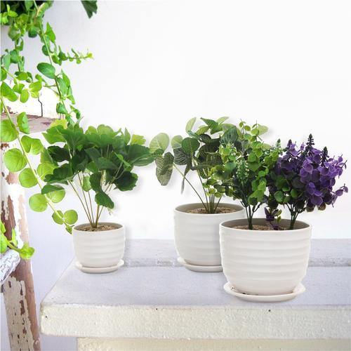 White Round Modern Ceramic Flower Pots, Set of 3