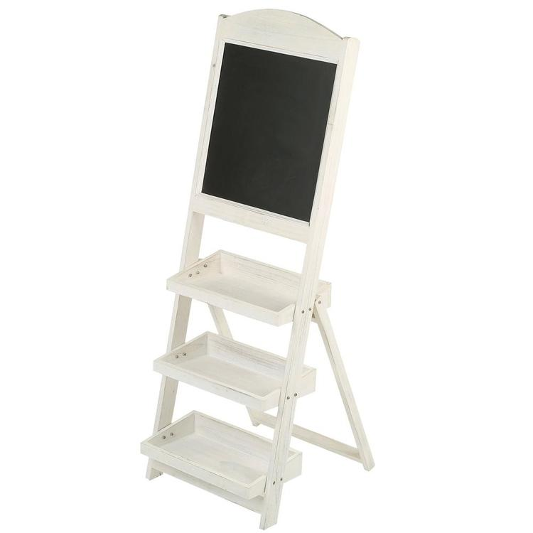 Vintage White Freestanding Wooden Chalkboard Easel with 3 Display Shelves - MyGift Enterprise LLC