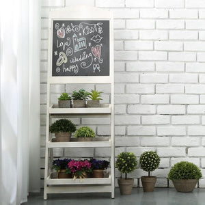White Wood Chalkboard Easel with Display Shelves