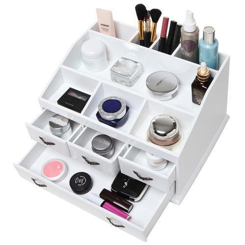 White Wood Jewelry and Makeup Organizer